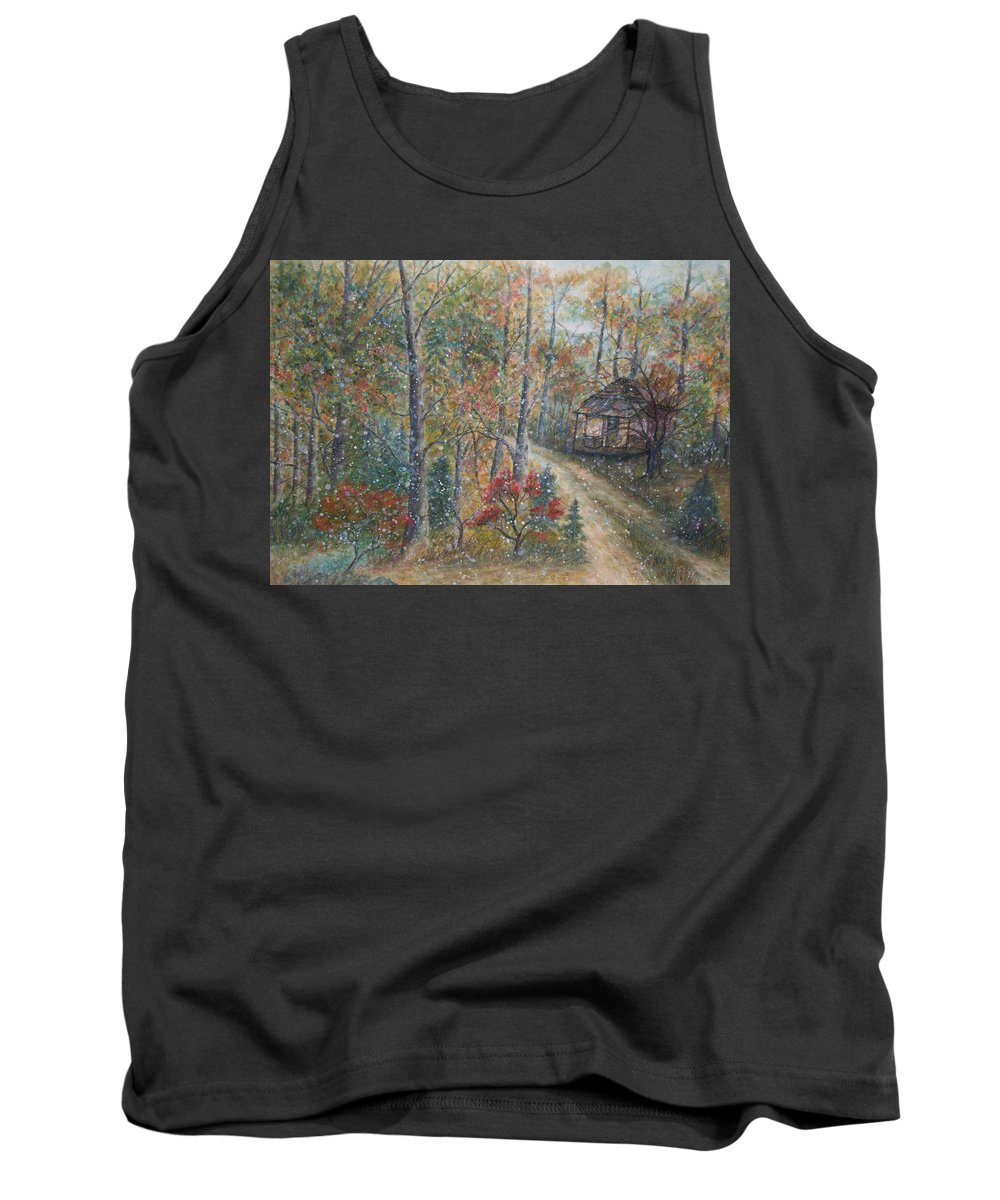 Country Road; Old House; Trees Tank Top featuring the painting A Bend in the Road by Ben Kiger