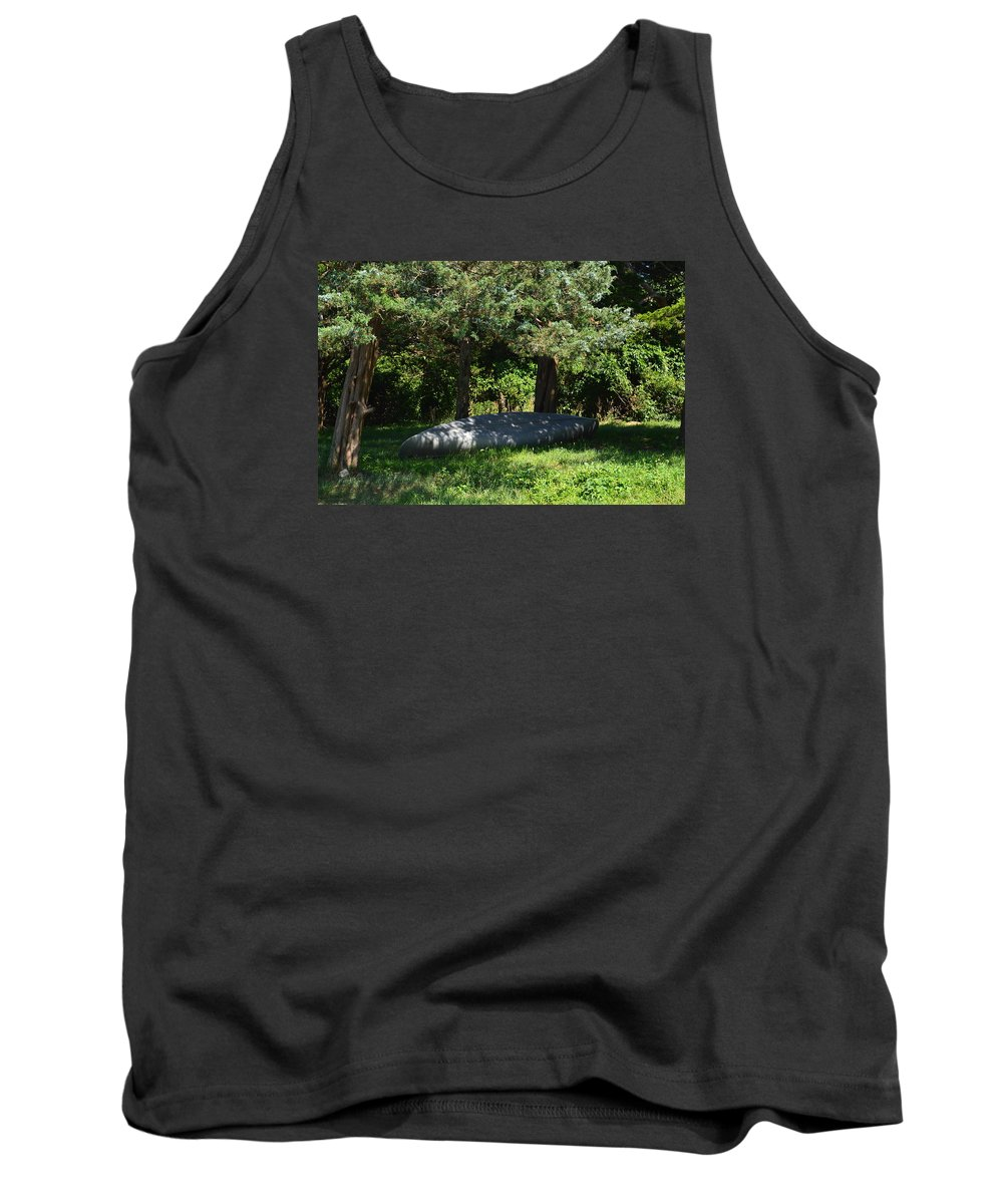 Canoe Tank Top featuring the photograph A Boat At Rest by Jacki Tatsch
