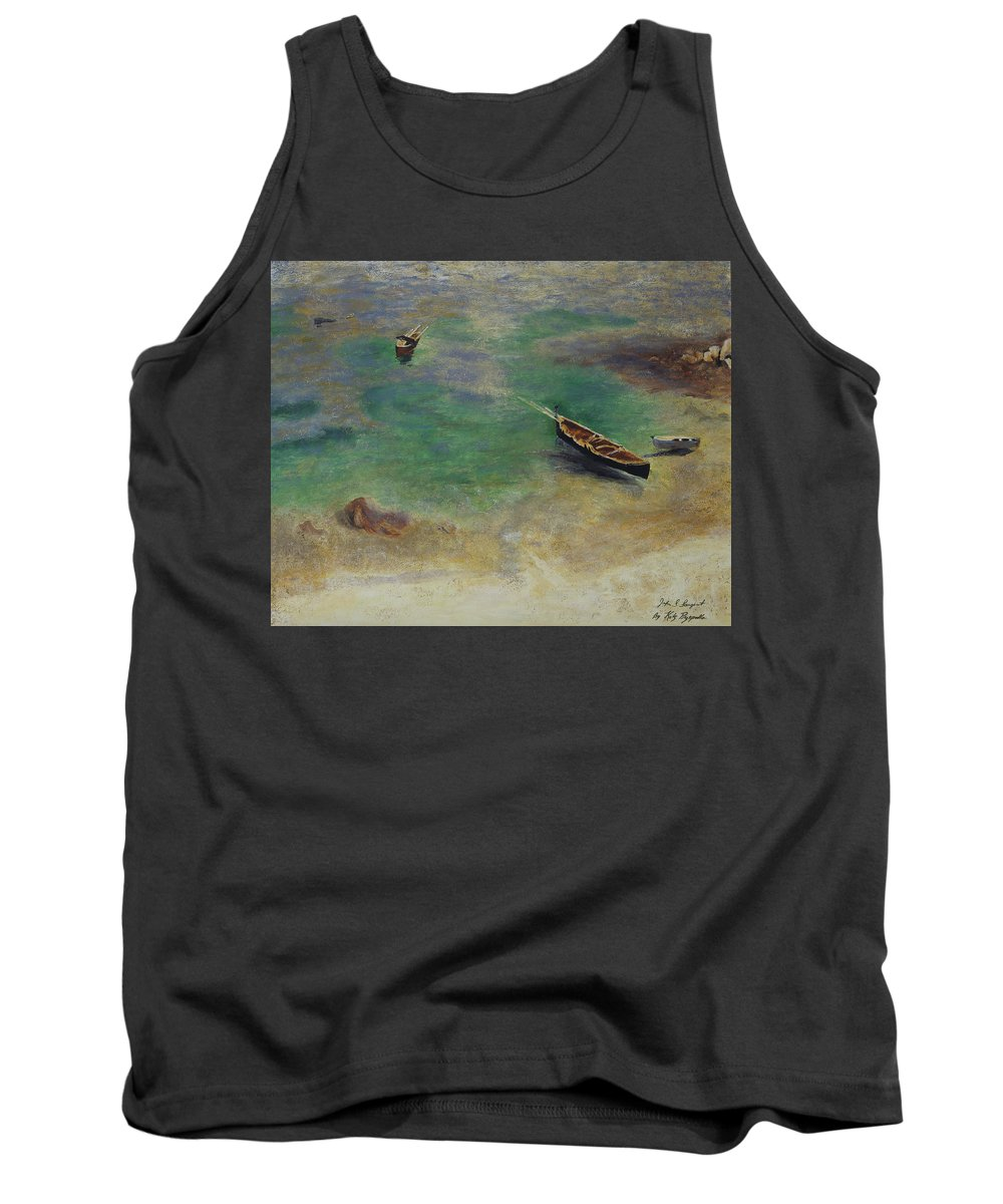 Boats Tank Top featuring the painting A Boat In The Waters Off Capri by Kathy Przepadlo