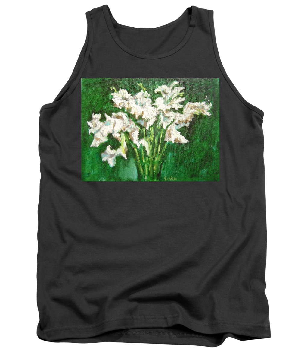 Bunch Tank Top featuring the painting A Bunch Of White Gladioli by Usha Shantharam