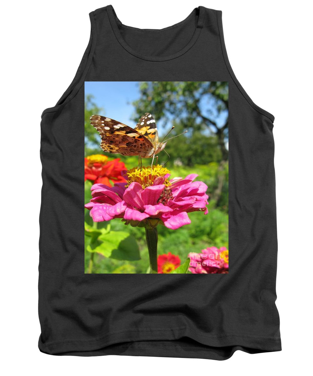 Butterfly Tank Top featuring the photograph A Butterfly On The Pink Zinnia by Ausra Huntington nee Paulauskaite