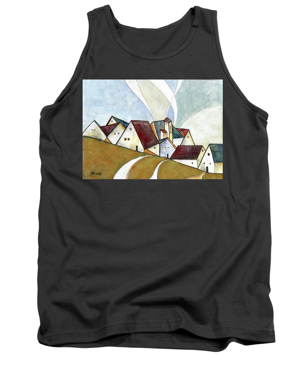 Original Art Tank Top featuring the painting  A Cold Day by Aniko Hencz