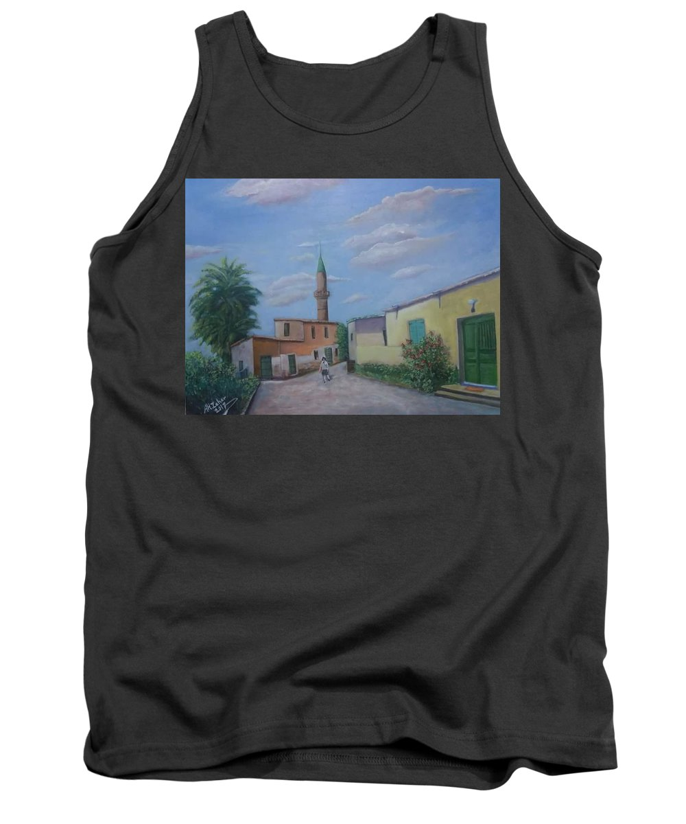 منظر قرية قبرص التركية Tank Top featuring the painting A Cypriot Village by Ahmad Alzaher