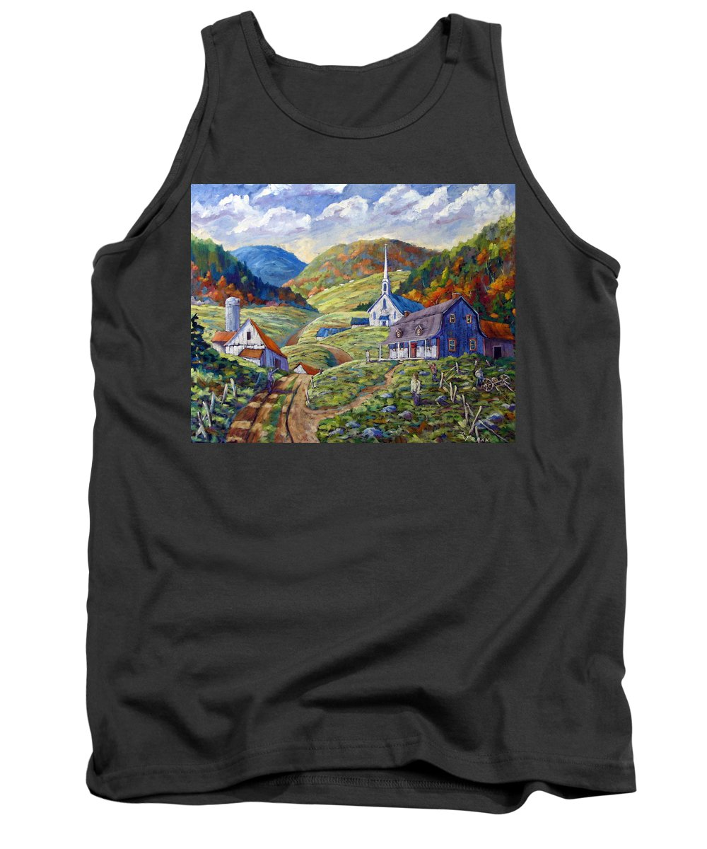 Landscape Tank Top featuring the painting A Day In Our Valley by Richard T Pranke