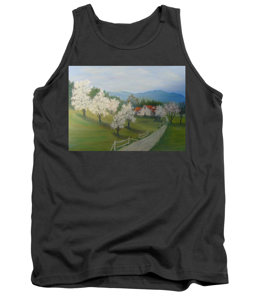 Landscape; Spring; Mountains; Country Road; House Tank Top featuring the painting A Day In The Country by Ben Kiger