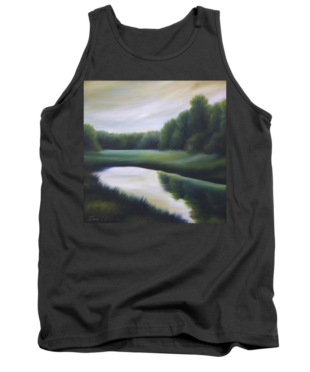 Nature; Lake; Sunset; Sunrise; Serene; Forest; Trees; Water; Ripples; Clearing; Lagoon; James Christopher Hill; Jameshillgallery.com; Foliage; Sky; Realism; Oils; Green; Tree Tank Top featuring the painting A Day In The Life 3 by James Christopher Hill
