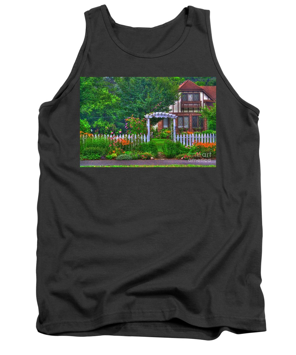 Related Tags: Tank Top featuring the photograph A Fence Of Flowrs by Robert Pearson