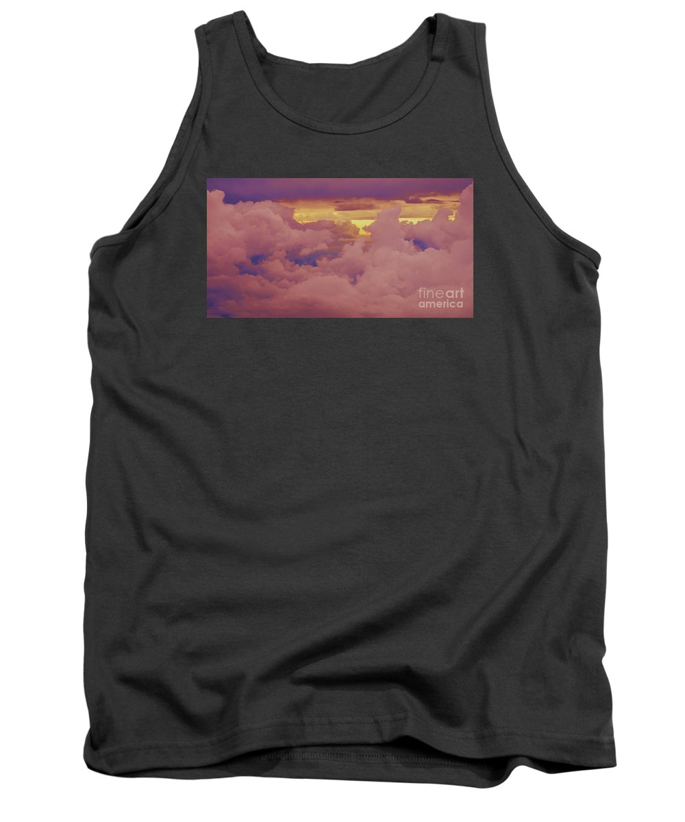 Cloud Art Aerial Capture Clouds Sunset Anthropomorphic Pink Outdoors Nature Travel Minimal Serenity Caught In The Air Pastel Shades Canvas Print Wood Print Metal Frame Poster Print Available On Shower Curtains Phone Cases Greeting Cards Mugs T Shirts And Pouches Tank Top featuring the photograph A Gathering Of Clouds At Sunset by Marcus Dagan
