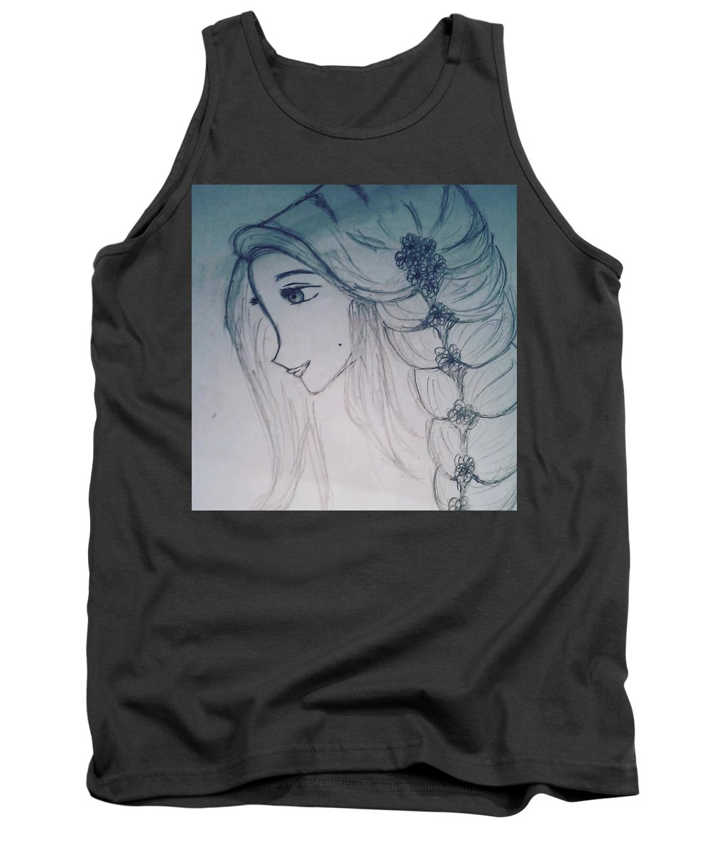 Girl Tank Top featuring the drawing A Girl by Chandana R