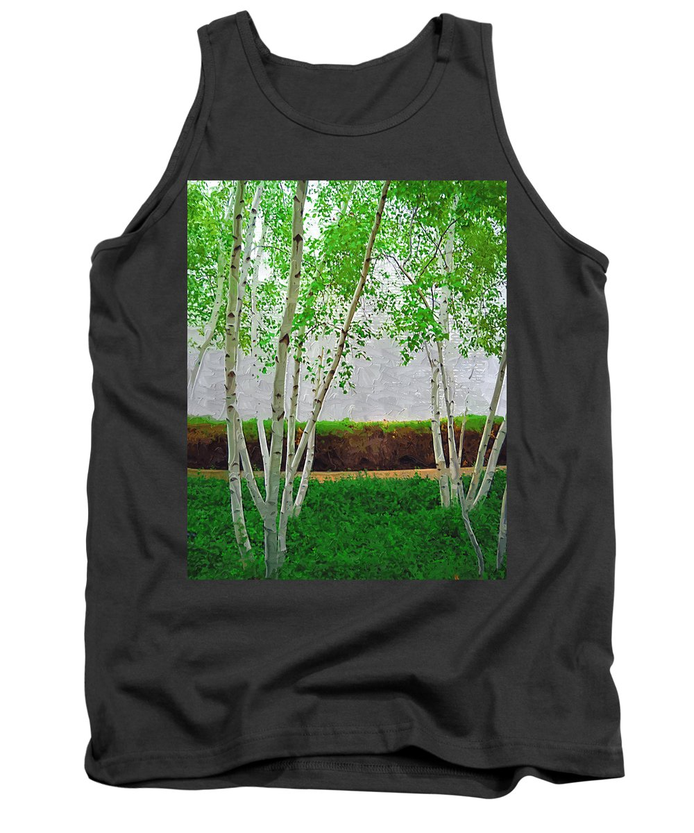 Birch Tank Top featuring the photograph A Grove Of Birches 2 by Tom Reynen