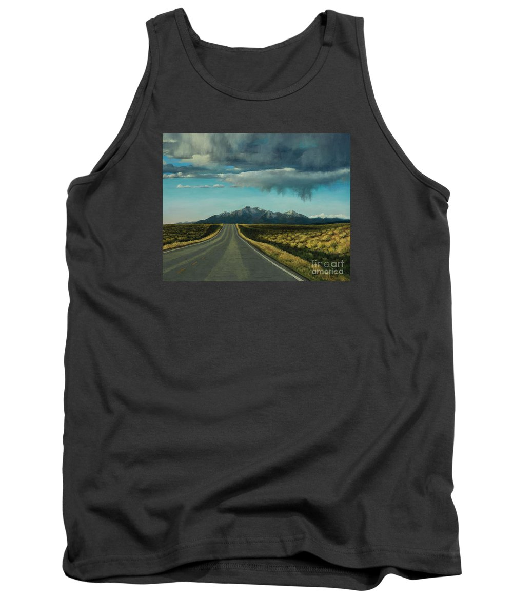 Pastel Landscape Painting Tank Top featuring the painting A Highway To The Rockies by Xenia Sease
