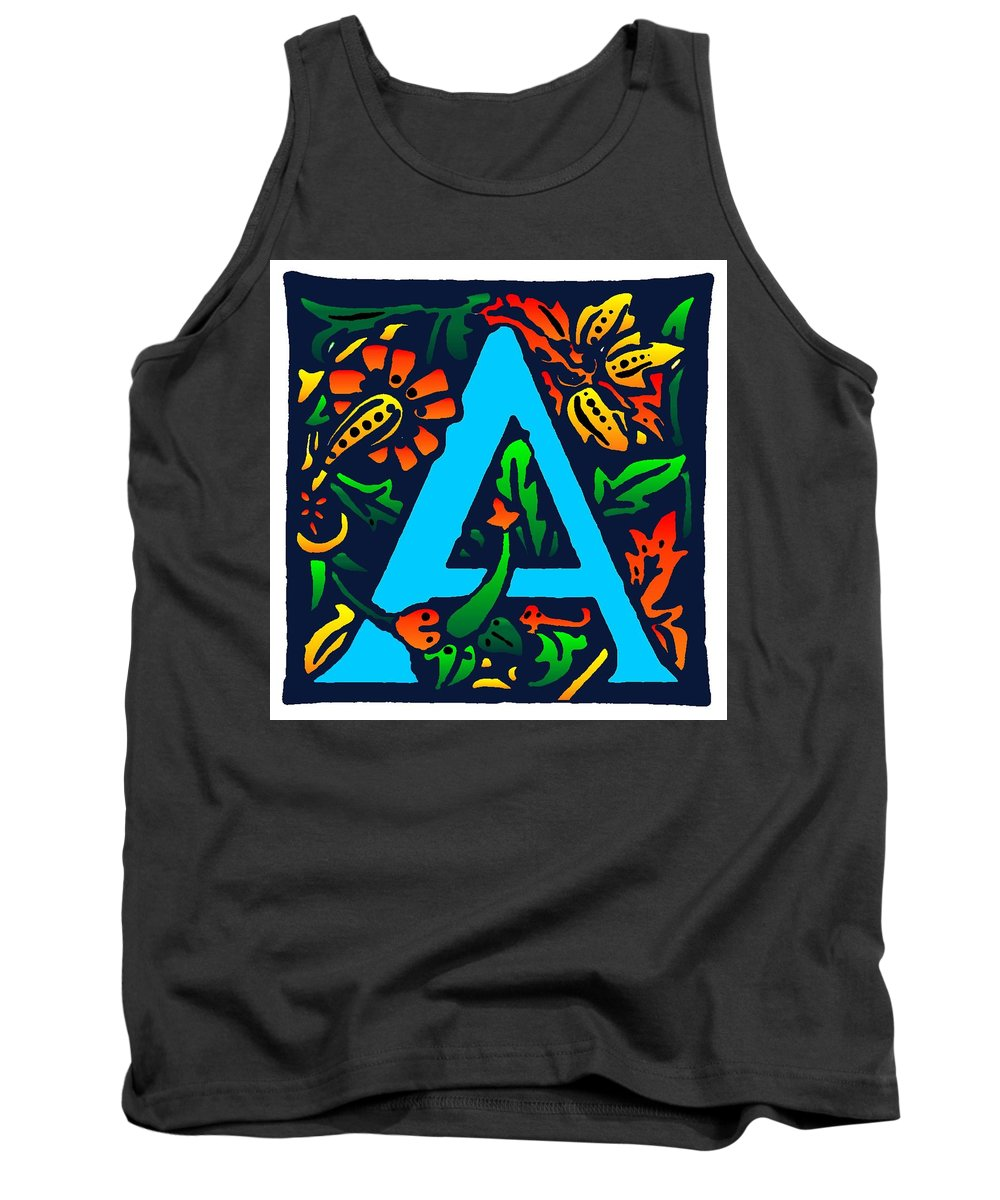 Alphabet Tank Top featuring the digital art A In Blue by Kathleen Sepulveda