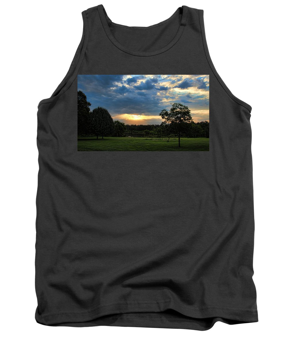 Sunrise Tank Top featuring the photograph A Lake Eufaula Summer Sunrise by Carolyn Fletcher