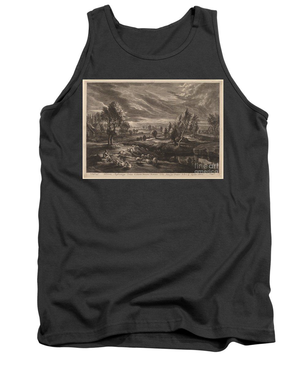 Tank Top featuring the drawing A Landscape With A Village by Schelte Adams Bolswert After Sir Peter Paul Rubens