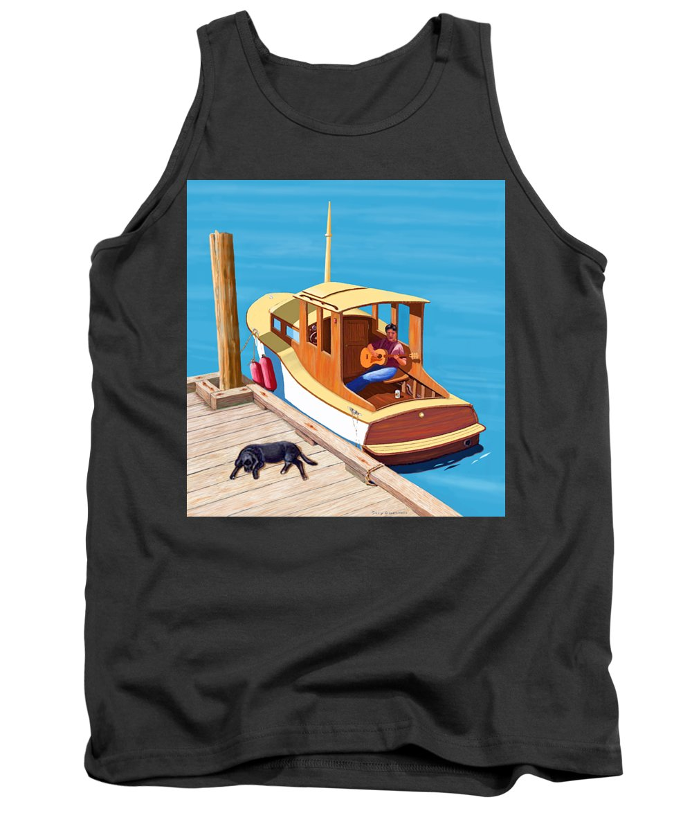 Man Dog Boat Wooden Boat Classic Watercraft Sailing Sailboat Motorboat Criss Craft Cabin Cruiser Marina Harbor Wharf Landing Moorage Anchorage Sea Lake Ocean Stream River Slew Boating Sailing Sailor Labrador Retriever Harbor Dock River Stream Lake Ocean Guitar Player Tank Top featuring the digital art A Man, A Dog And An Old Boat by Gary Giacomelli