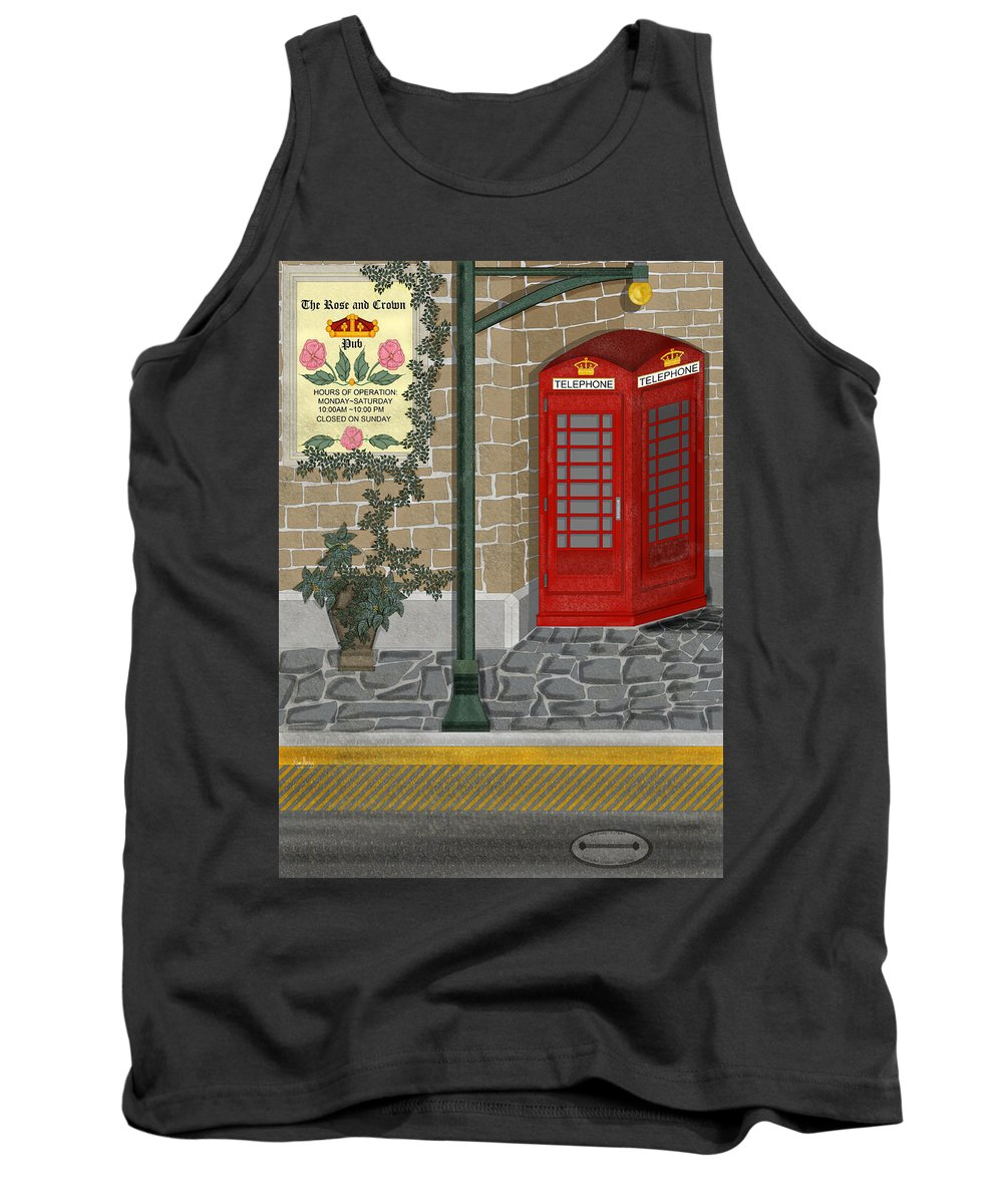 Cityscape Tank Top featuring the painting A Merry Old Corner In London by Anne Norskog
