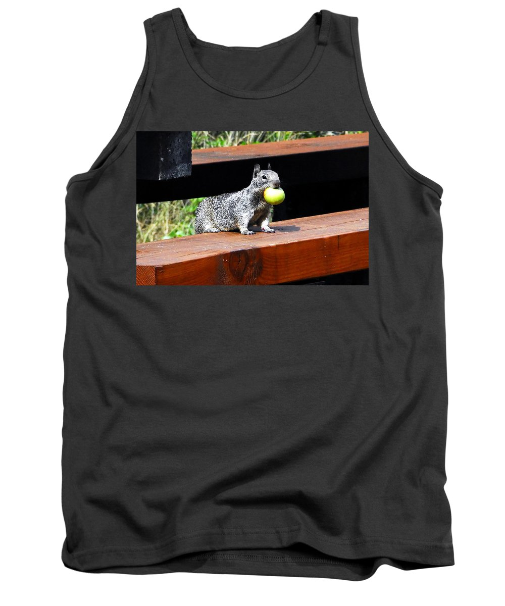Squirrel Tank Top featuring the photograph A Mouthful by David Lee Thompson