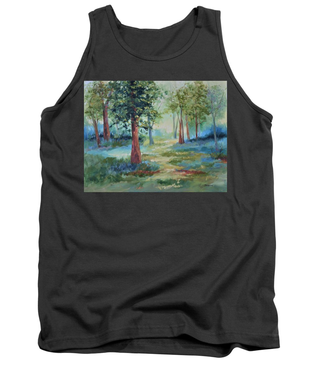 Trees Tank Top featuring the painting A Path Not Taken by Ginger Concepcion