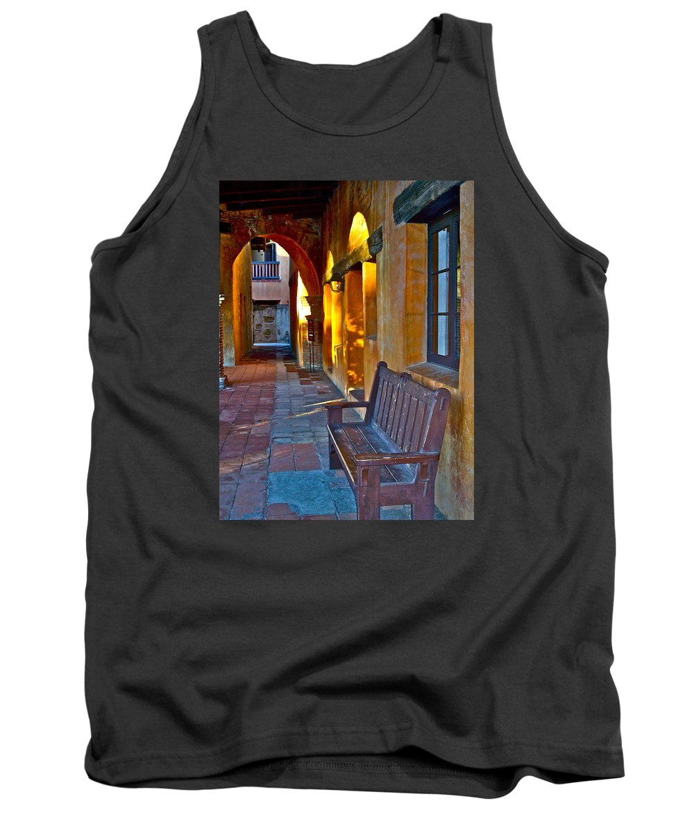 Bench Tank Top featuring the photograph A Peaceful Resting Place by Karon Melillo DeVega