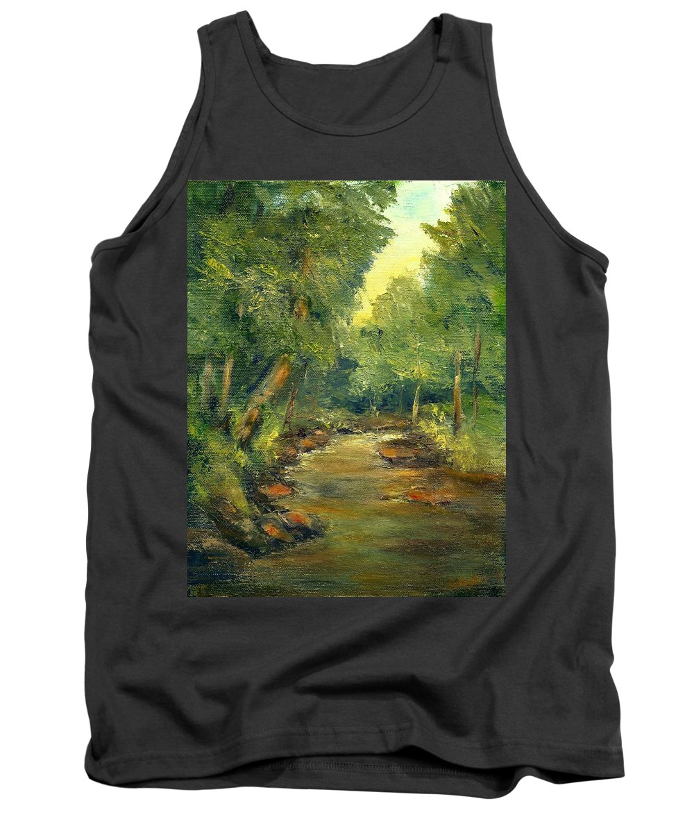 Creek Tank Top featuring the painting A Quiet Place by Gail Kirtz