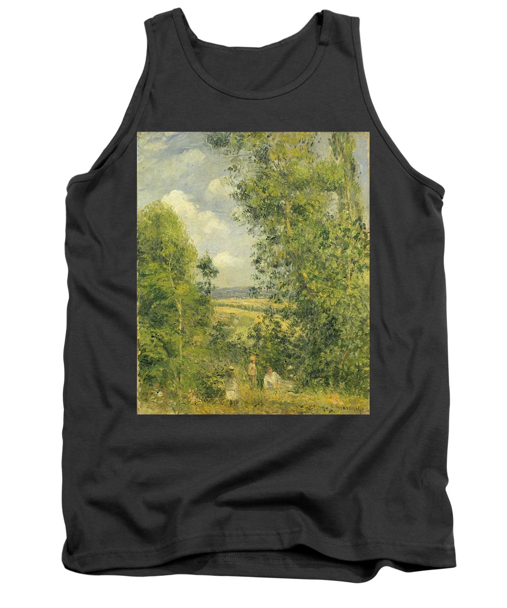 Rest Tank Top featuring the painting A Rest In The Meadow by Camille Pissarro