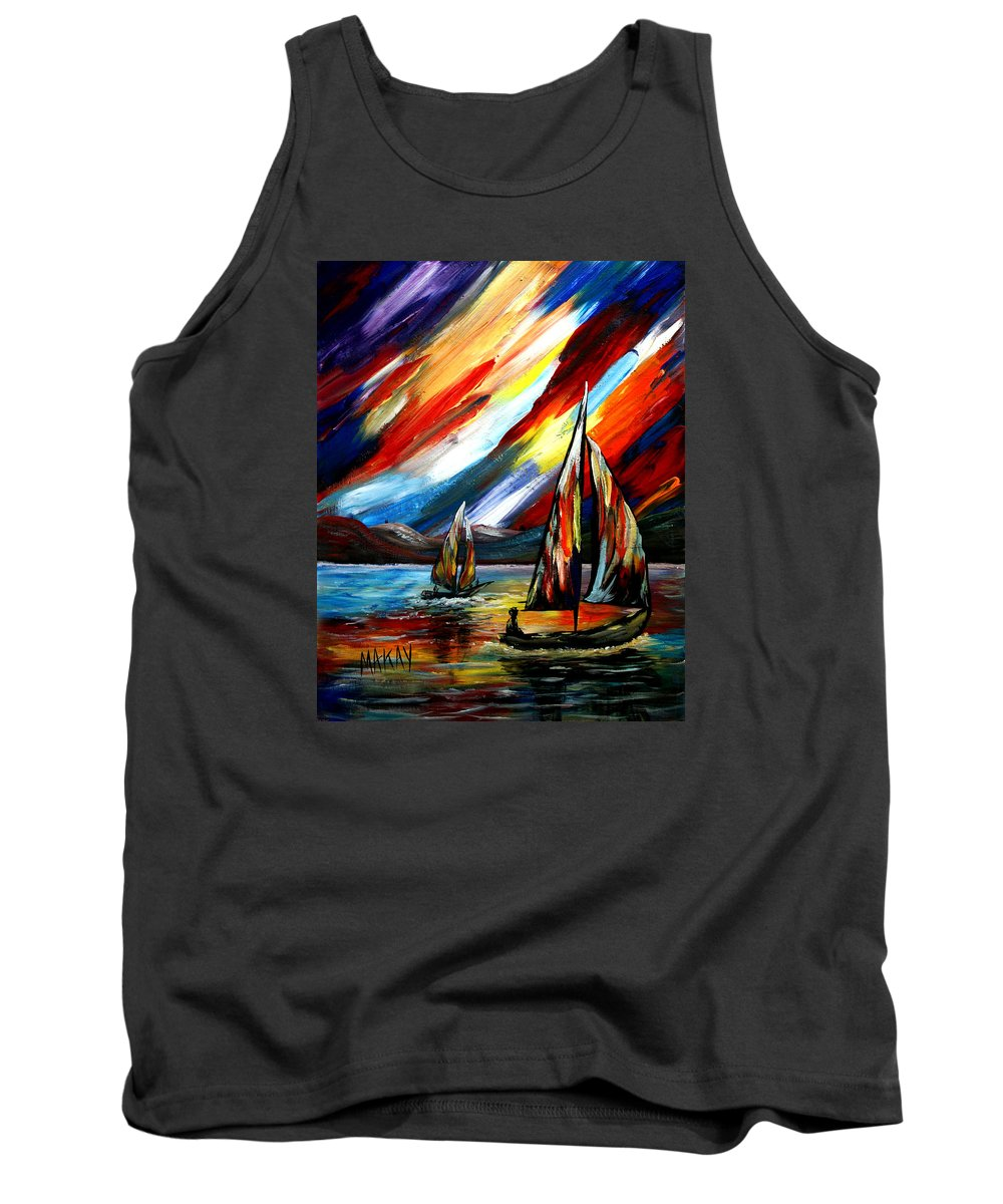 Sailing Tank Top featuring the painting A Sailing Prism by Maxie Makay