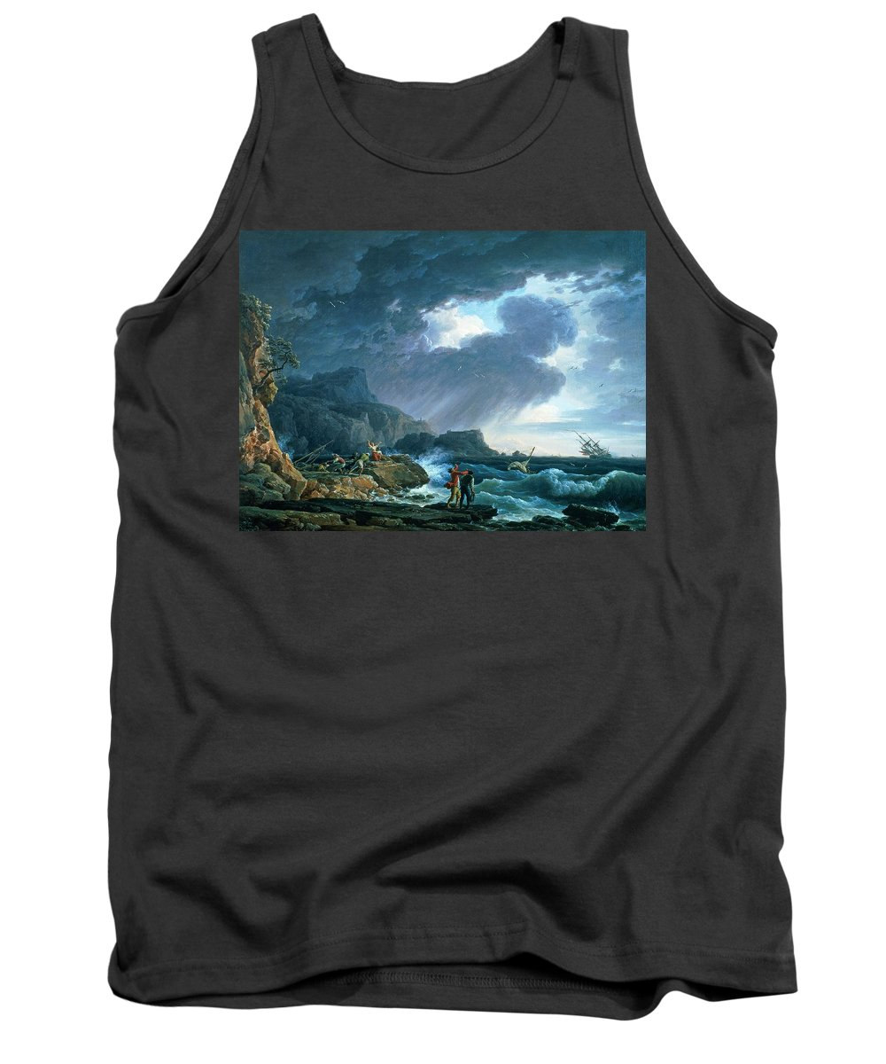 A Seastorm Tank Top featuring the painting A Seastorm by Claude Joseph Vernet