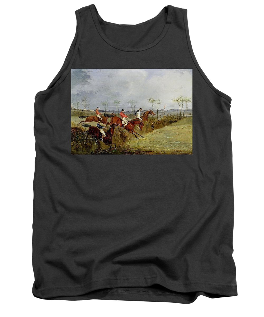 Antelope Tank Top featuring the digital art A Steeplechase - Taking A Hedge And Ditch Henry Thomas Alken by Eloisa Mannion