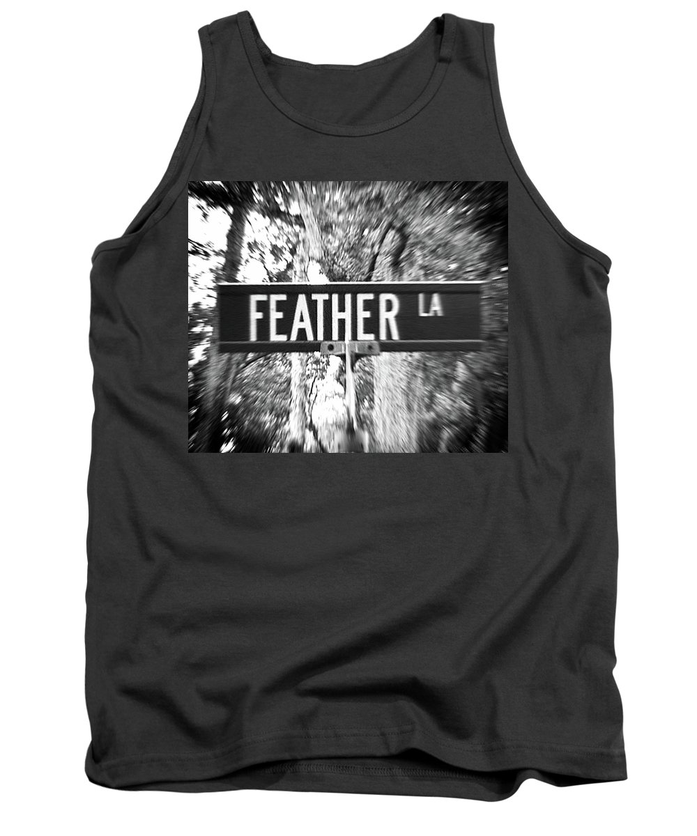 Feather Tank Top featuring the photograph Fe - A Street Sign Named Feather by Jenifer West