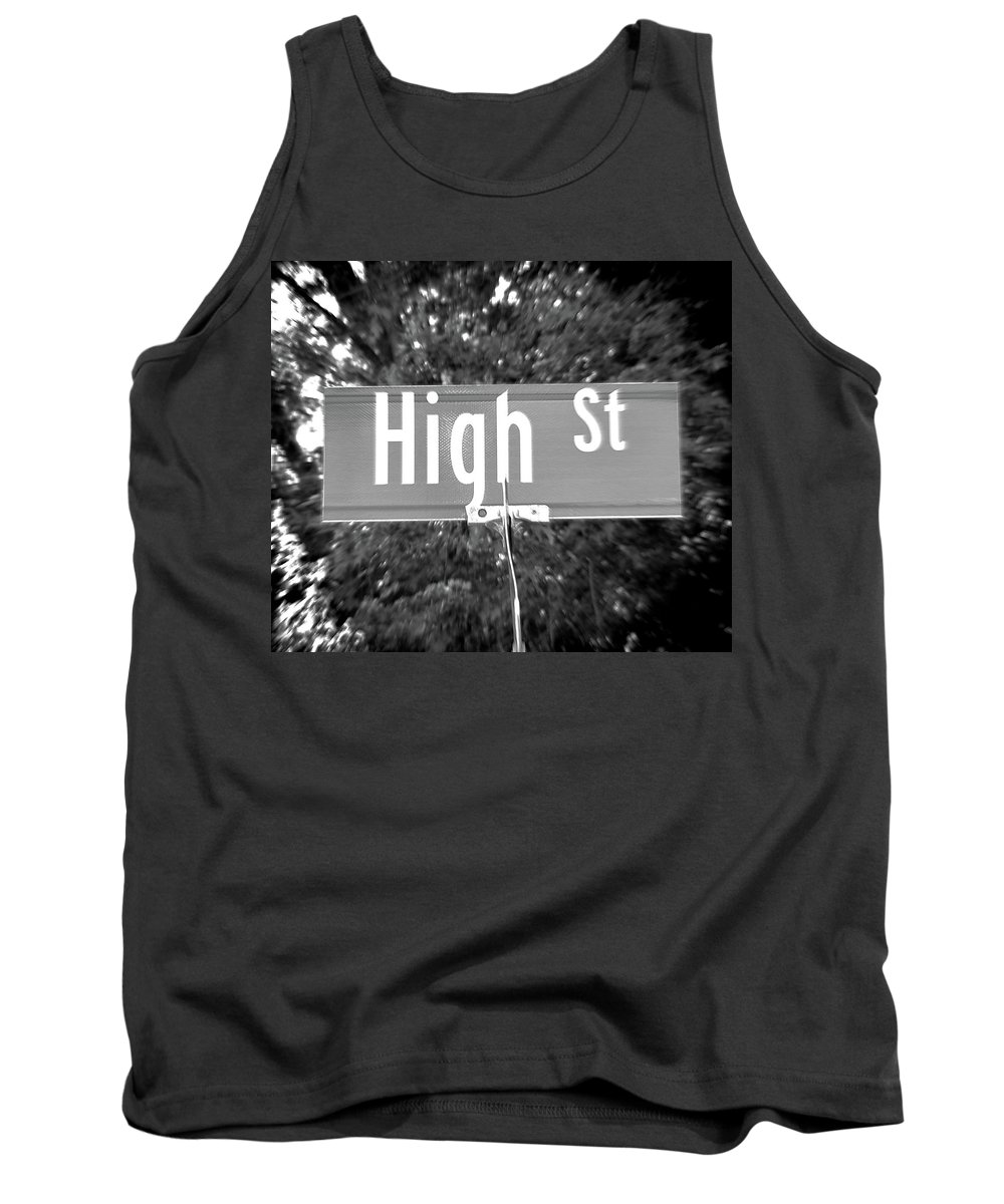 High Tank Top featuring the photograph Hi - A Street Sign Named High by Jenifer West