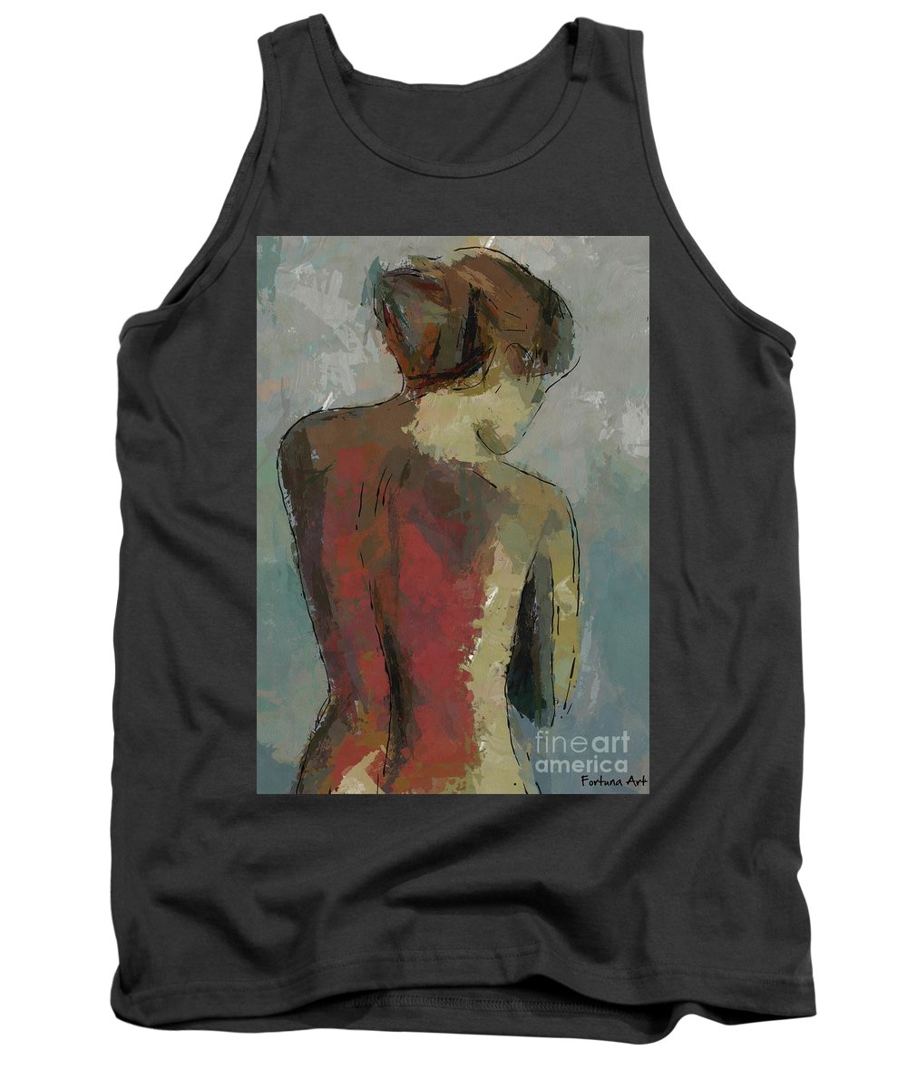Nude Tank Top featuring the painting A Study Of A Standing Nude by Dragica Micki Fortuna