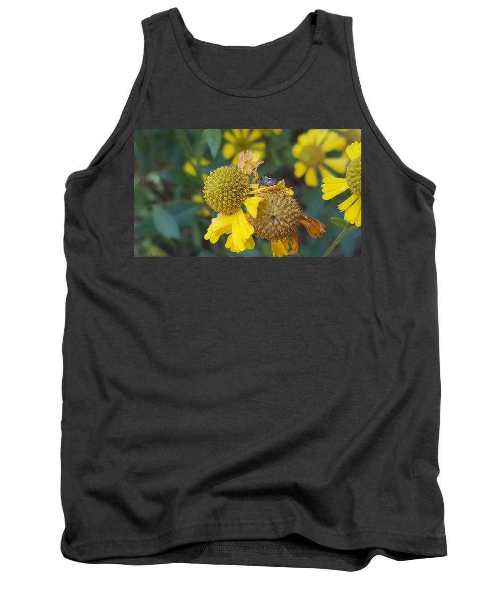 Spider Tank Top featuring the photograph A Tiny Peek by Michael Parker
