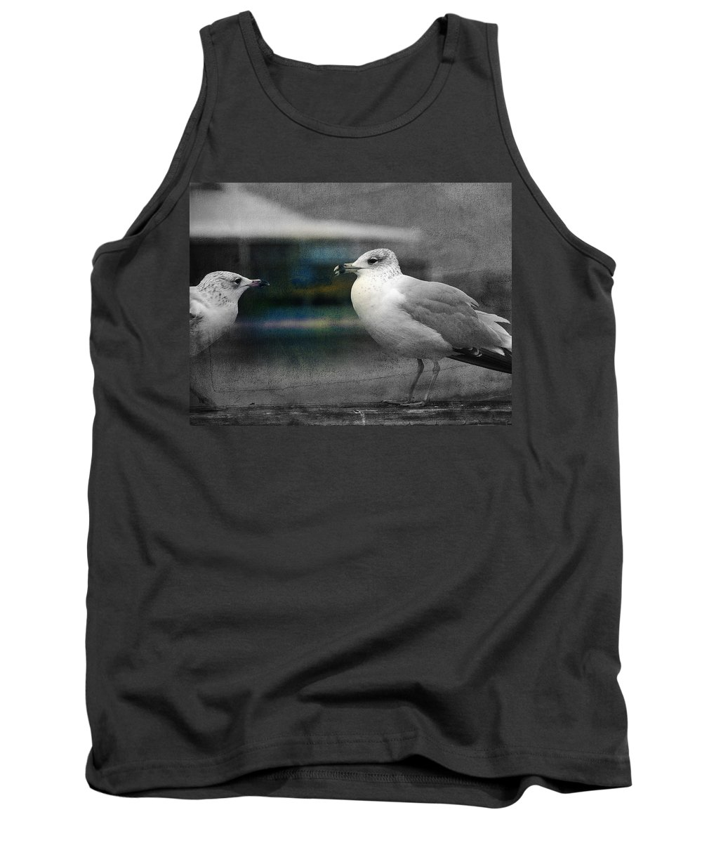 Two Seagulls Tank Top featuring the photograph A Touch Of Blue by Susanne Van Hulst