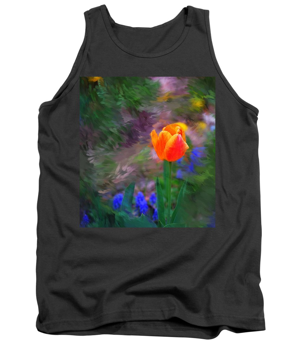 Floral Tank Top featuring the digital art A Tulip Stands Alone by David Lane