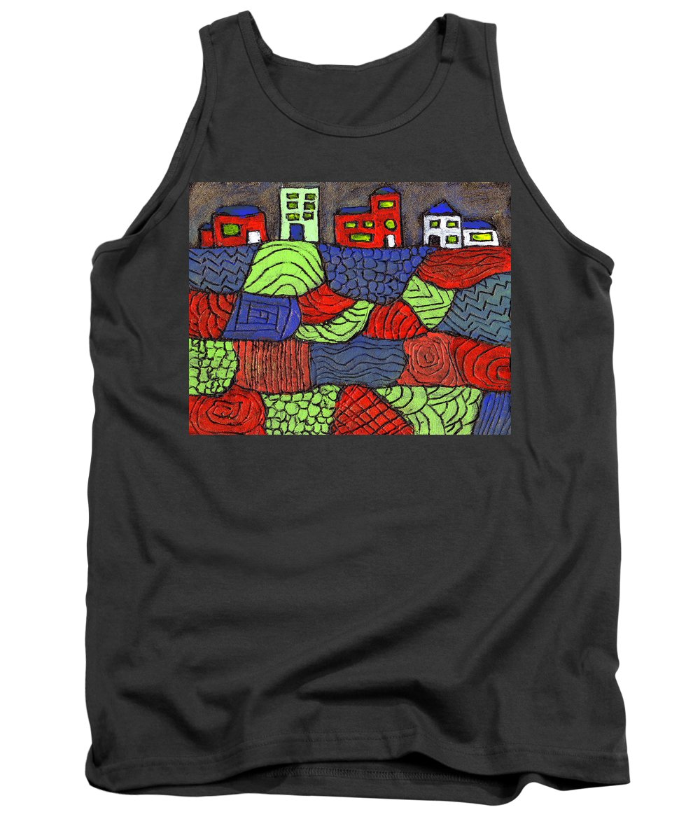 Whimsical Tank Top featuring the painting A Very Colorful Neighborhood by Wayne Potrafka