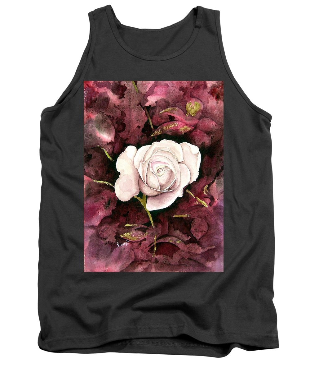 Flower Tank Top featuring the painting A White Rose by Sam Sidders