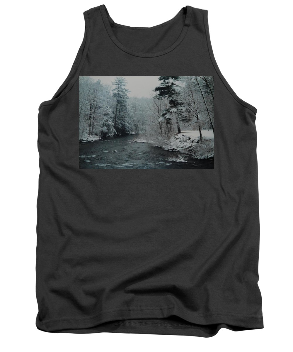 B&w Tank Top featuring the photograph A Winter Waterland by Rob Hans