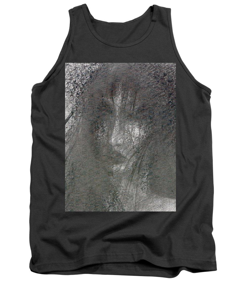 Psychedelic Tank Top featuring the drawing Absence by Wojtek Kowalski