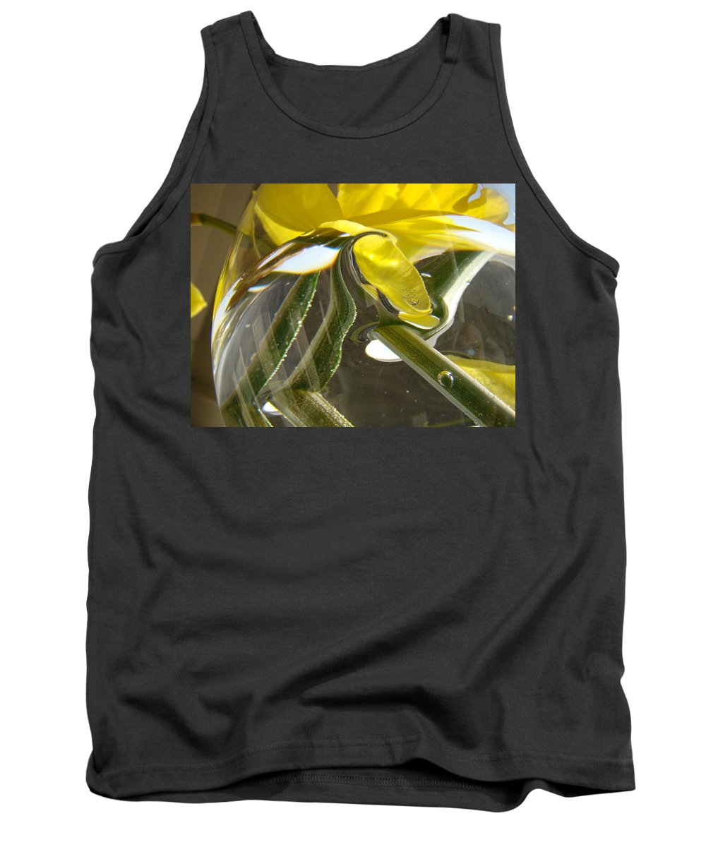 �daffodils Artwork� Tank Top featuring the photograph Abstract Artwork Daffodils Flowers 1 Natural Abstract Art Prints Glass Vase Water Art Light Air by Baslee Troutman