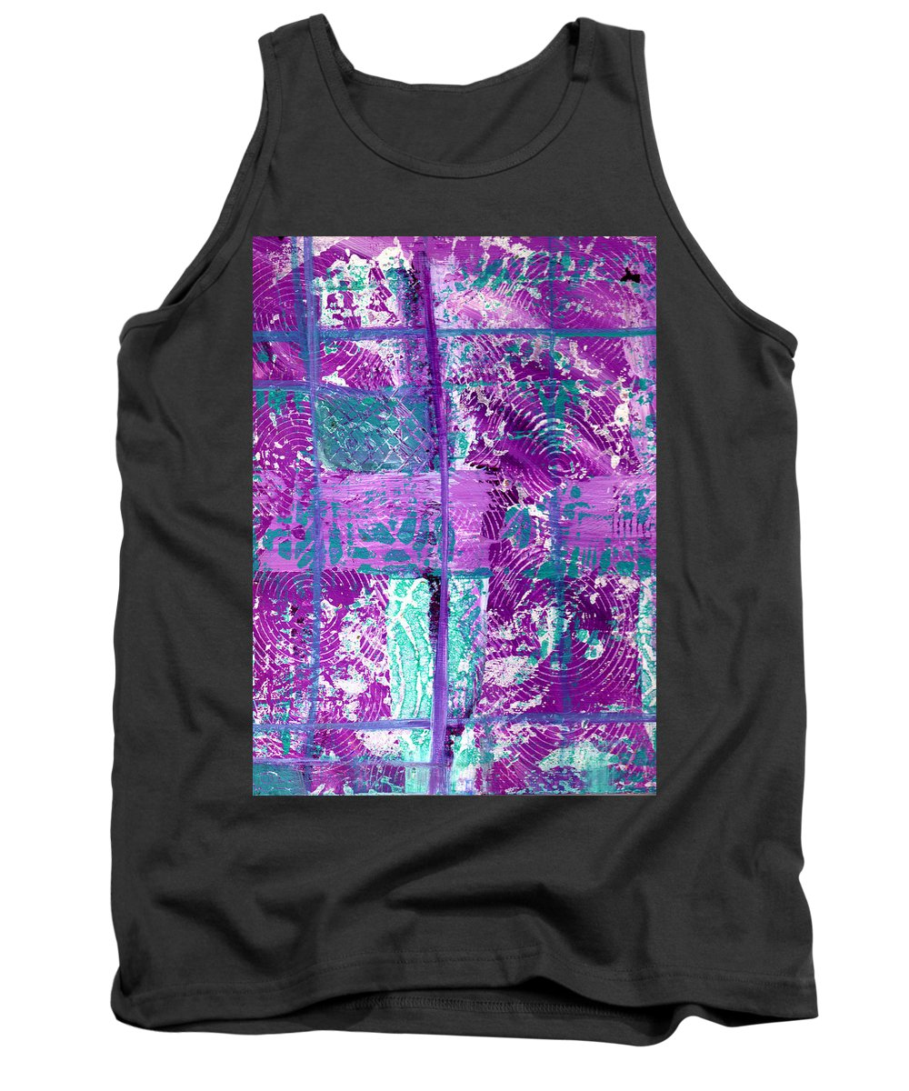 Abstract Tank Top featuring the painting Abstract In Purple And Teal by Wayne Potrafka