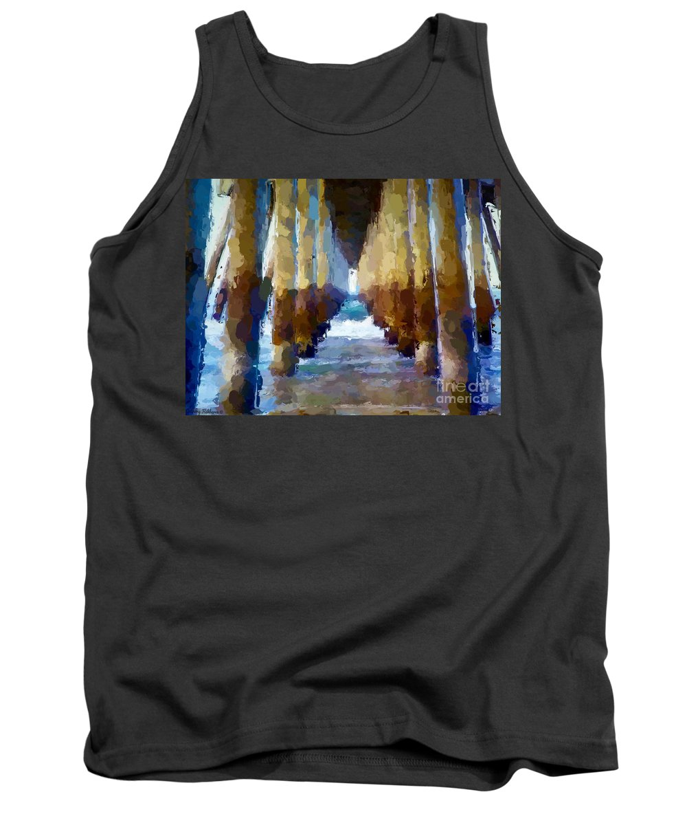 Anthony Fishburne Tank Top featuring the mixed media Abstract Under Pier Beach by Anthony Fishburne