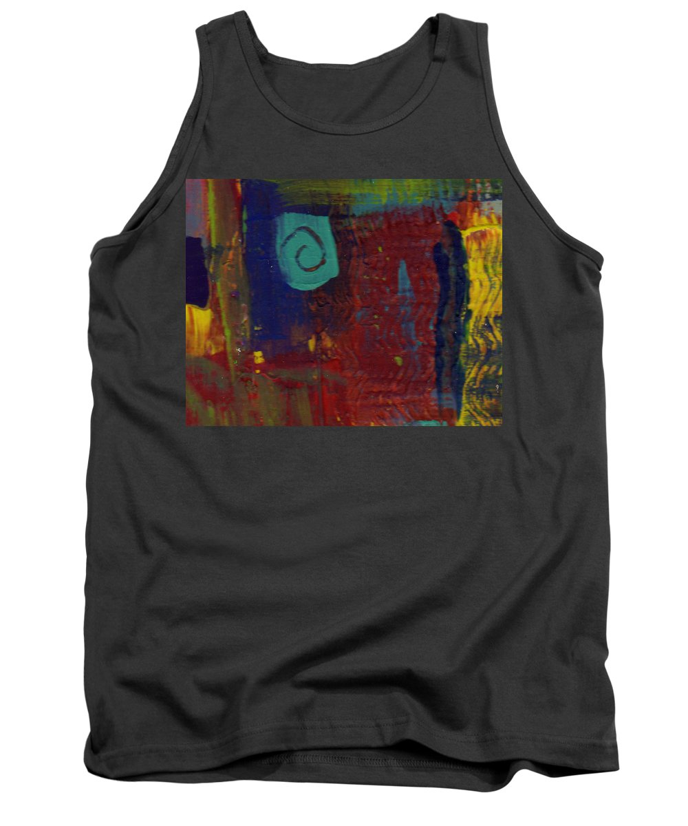 Abstract Tank Top featuring the painting Abstract With Teal Spiral by Wayne Potrafka