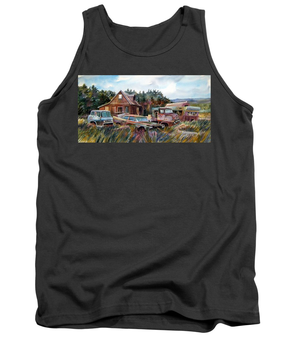 Cars Tank Top featuring the painting Across The Road And Gone by Ron Morrison