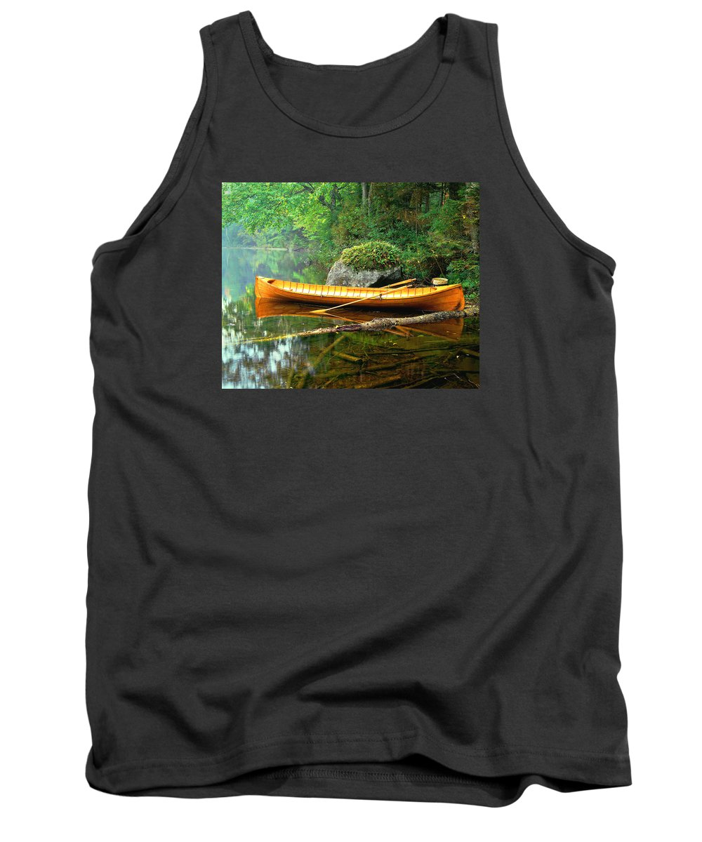 Adirondacks-boat-landscape-lake Tank Top featuring the photograph Adirondack Guideboat by Frank Houck