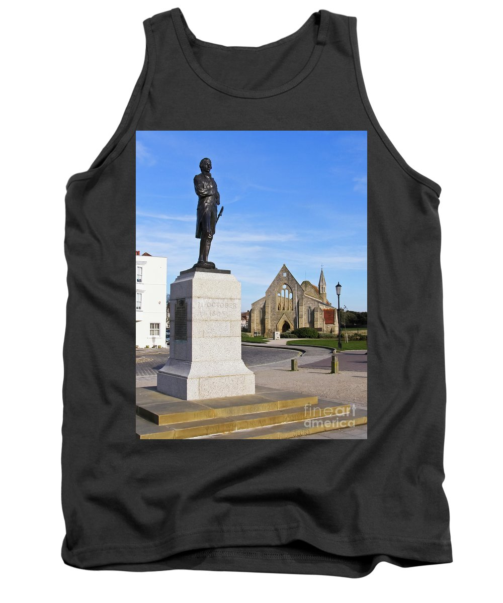 Admiral Lord Nelson Tank Top featuring the photograph Admiral Lord Nelson And Royal Garrison Church by Terri Waters