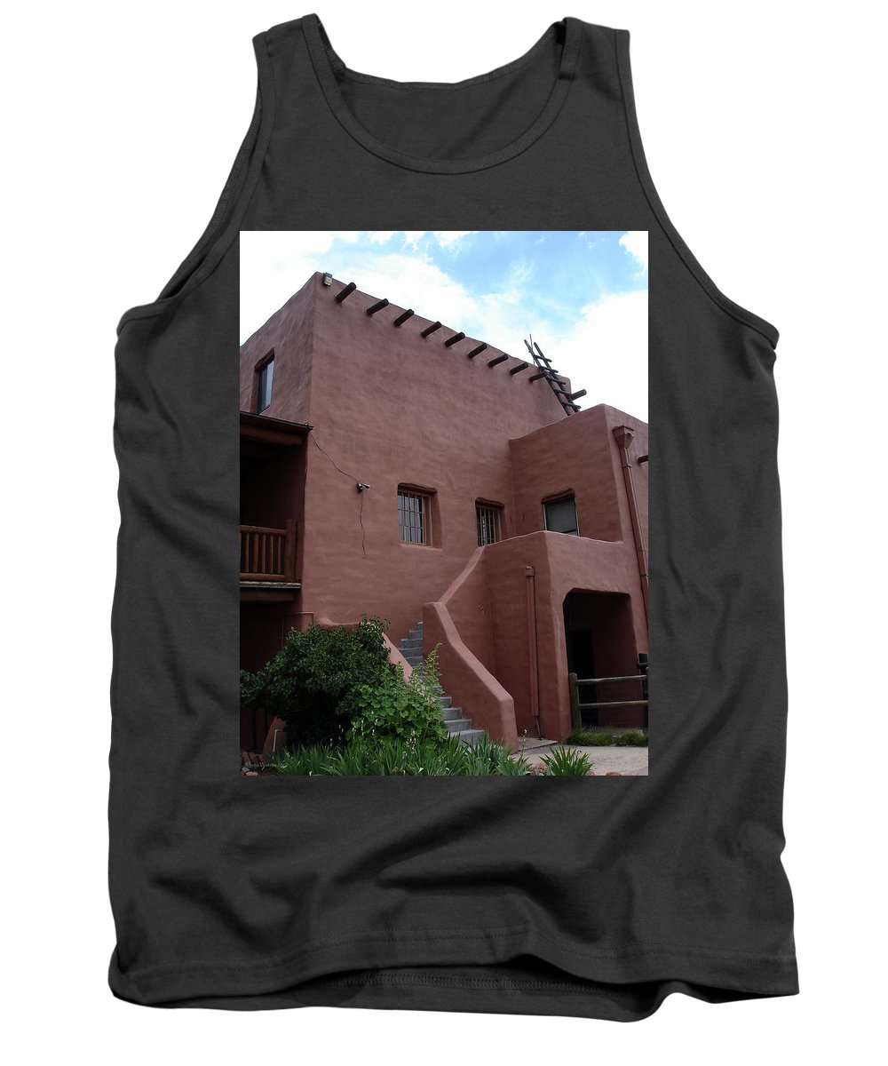 Santa Fe Tank Top featuring the photograph Adobe House At Red Rocks Colorado by Merja Waters