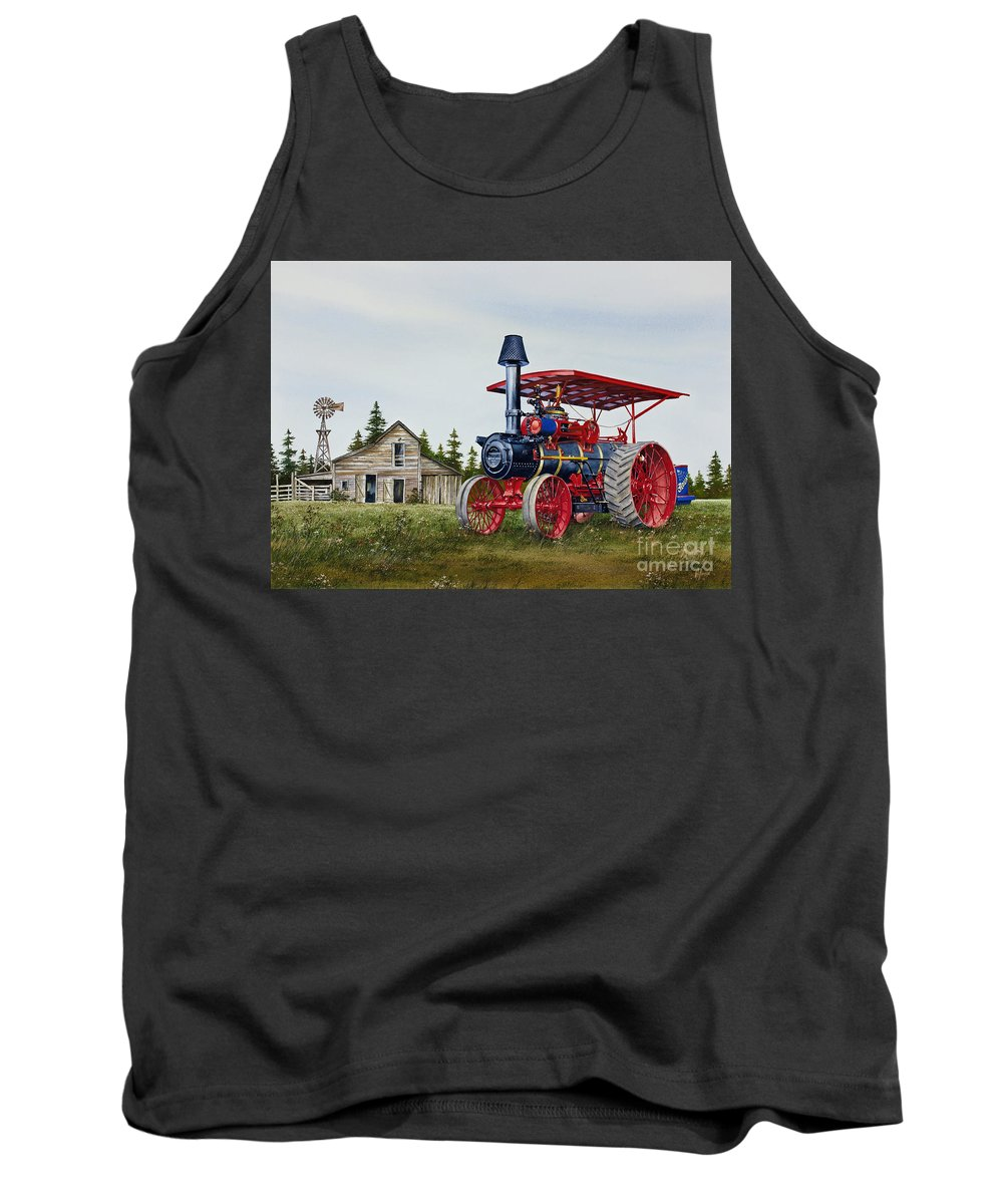 Advance Rumely Tank Top featuring the painting Advance Rumely Steam Traction Engine by James Williamson