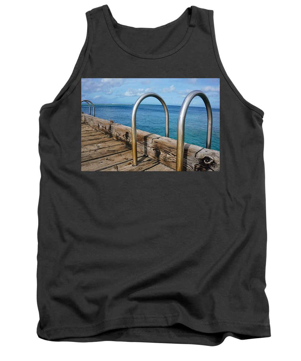 Railing Tank Top featuring the photograph Adventure Into The Blue by Jade Phoenix