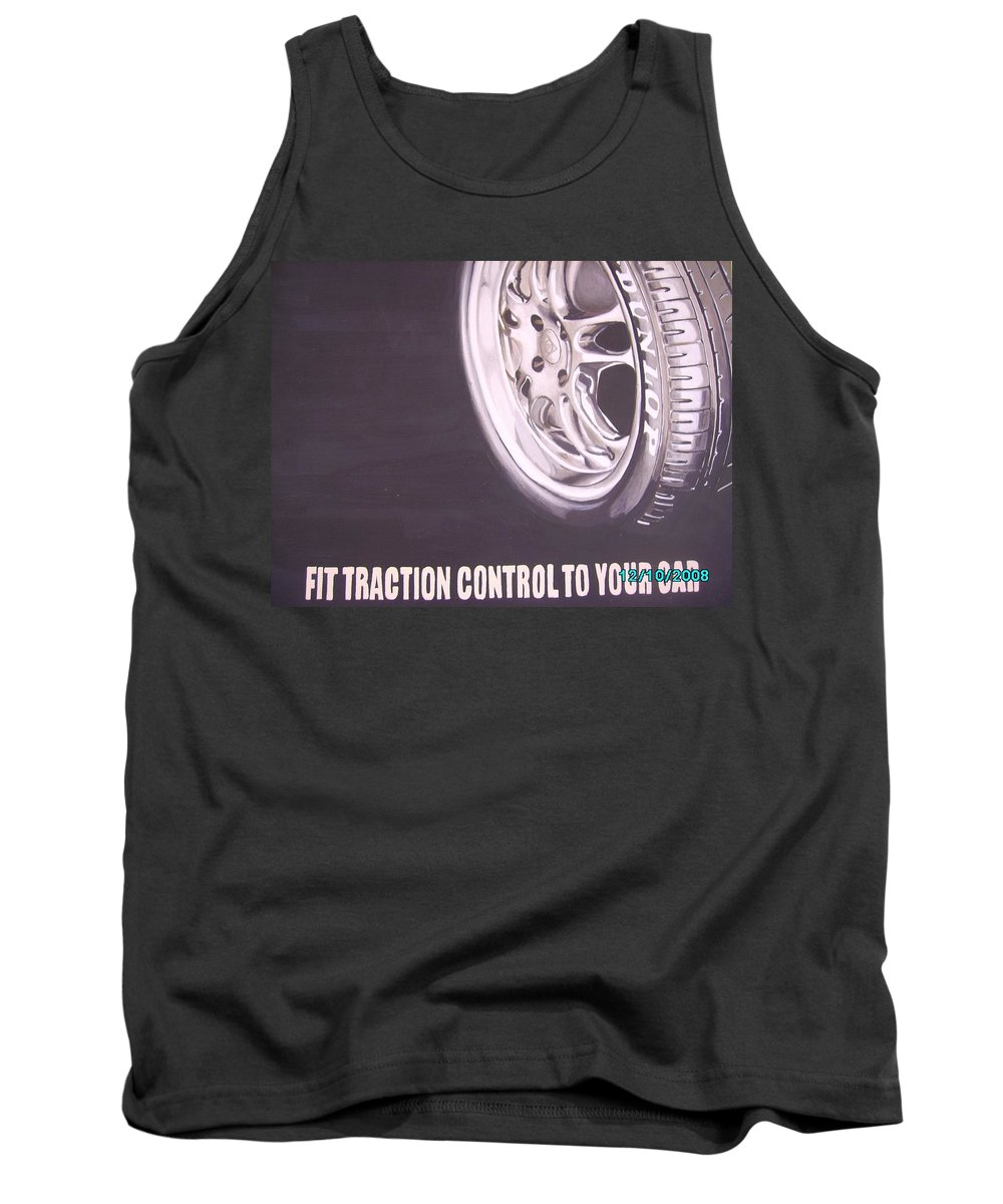 Wheel Tank Top featuring the digital art Adverts On Tyres by Olaoluwa Smith