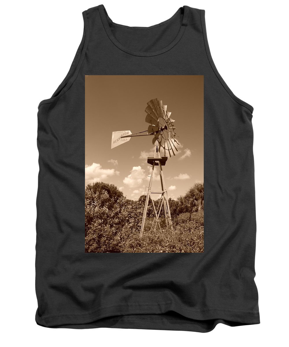 Sepia Tank Top featuring the photograph Aermotor Windmill by Rob Hans